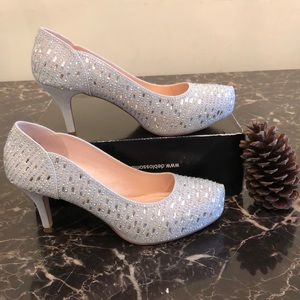BLOSSOM COLLECTION heel shoe silver with glitters